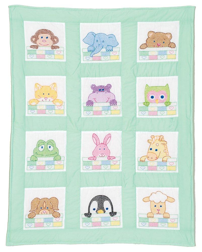 Stamped White Nursery Quilt Block 9X9 Peek-A-Boo 12//pkg