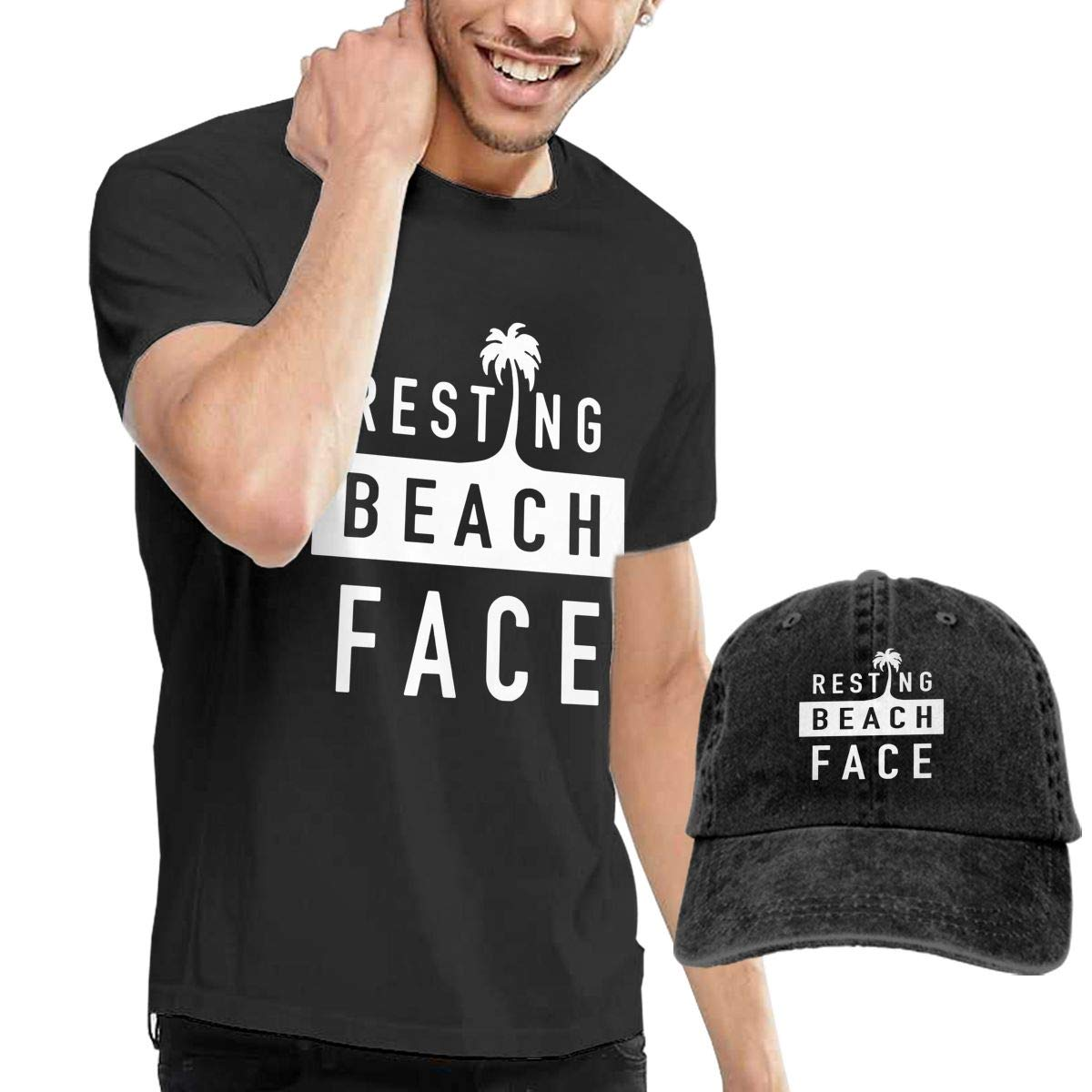 WWTBBJ-B Resting Beach Face Adult Mens Fashion T-Shirts and Sport Jean Hat
