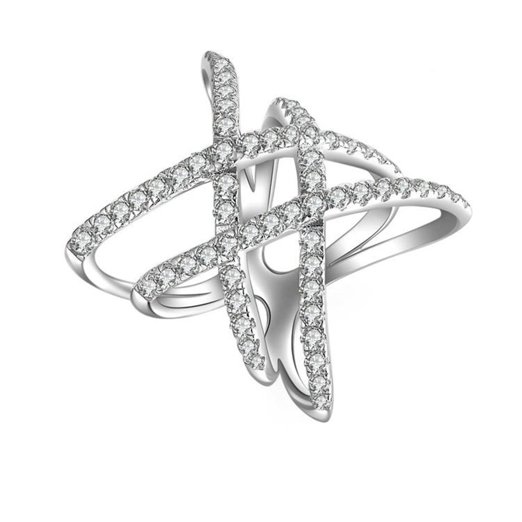 AmDxD Jewelry Silver Plated Women Promise Customizable Rings Double X Shape CZ Size 5.5