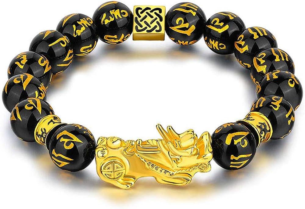 BOMAIL Feng Shui Pixiu Bracelets- Obsidian Bead Dragon Elastic Charm Bracelet Pi Yao Attract Wealth Money Good Luck Bracelets for Men Women