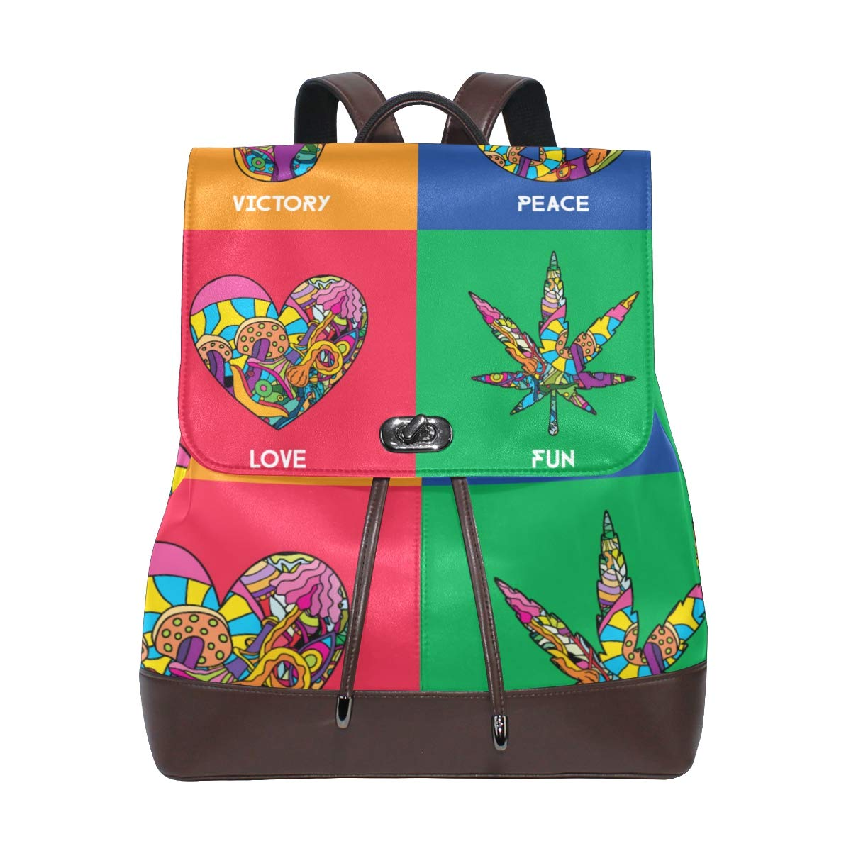 PU Leather Backpack Victory Peace Love Fun drawstring for Travel Rucksack Daypack Casual Duffel Shoulder Bag