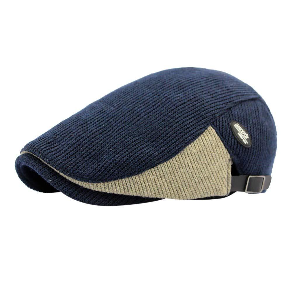 AMSKY Winter Men Color Block Vintage Ajustable Gatsby Peaked Cap Newsboy Beret Hat Women' s Novelty Socks & Hosiery Beige One Size