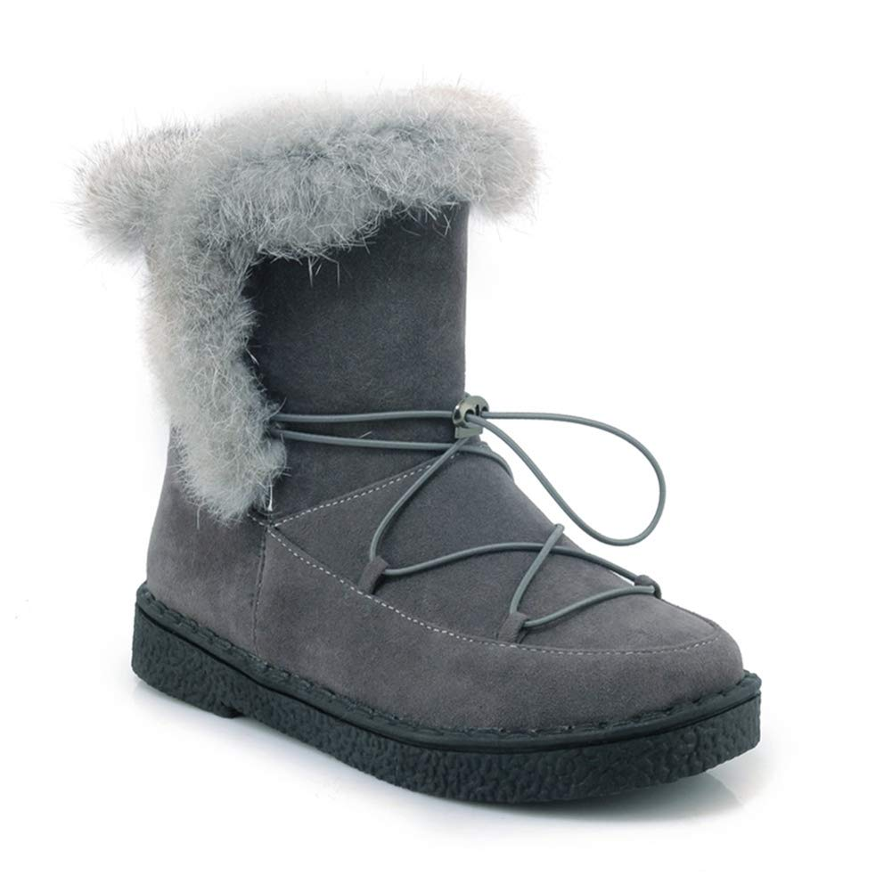Grey Btrada Women's Snow Boots Long Plush Fashion Warm Casual shoes Lace Up Style Winter Female Ankle Booties
