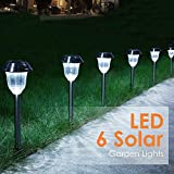 Aglaia Solar Lights Outdoor, Solar Garden Lights, Solar Pathway Lights, Stainless Steel Waterproof LED Outdoor Lights, Security Landscape Lighting, Pathway, Driveway, Patio, Yard Decoration (6 Pack)