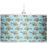 RNK Shops Mosaic Fish Drum Pendant Lamp Linen (Personalized)