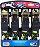 Ratchet Tie Down Straps 20 foot 4 Pack by Bison Gear High Visibility UV Resistant 1800lb Heavy Duty Cargo Straps with Ergonomic Rubber Grips & Coated Deep S Hooks - Safety Standards Certified