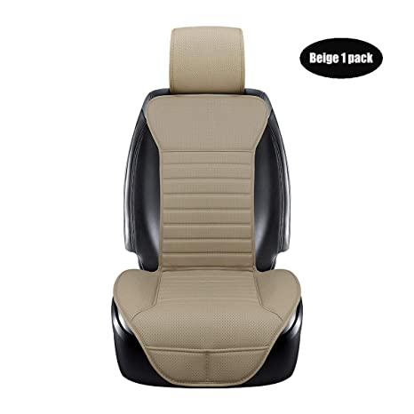 DINKANUR PU Leather Auto Seat Cover Car Interior Breathable Front Seat Cover Protection Headrest and backrest Seat Cover for Cars (1 PCS) (Beige-B)