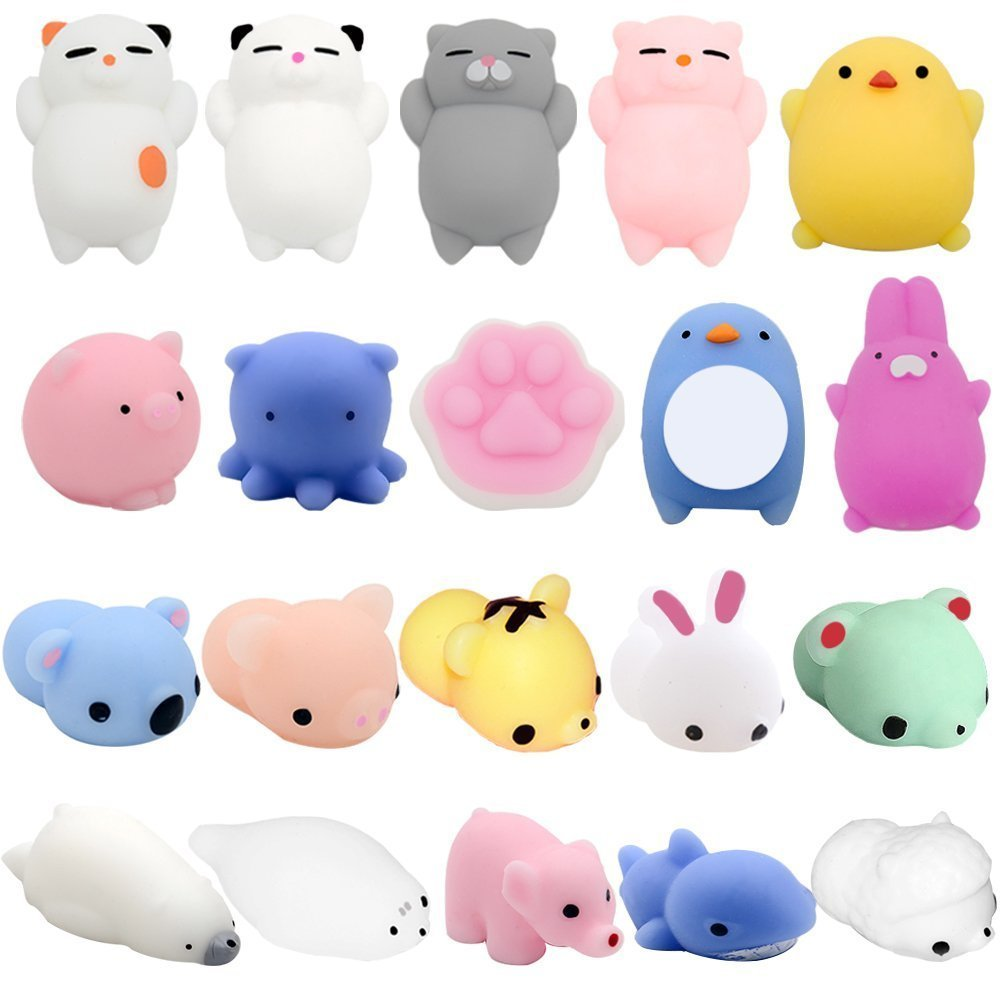 Mochi Squishy Toys, YESONE 20 Pcs Mochi Kawaii Squishies Squishy Animals Stress Toys Stress Relief Animal Toys Squeeze Toys Squishy Cats Mini Seal Squishy Cat Pig Elephant Tiger Rabbit Squishies