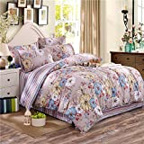 YIweNi Pure Cotton Four piece set _twill stamp pure cotton single double linen bedding kit, to Huadu dance shadow 1.2 m bed (Kit 160210 bedspreads 160230)