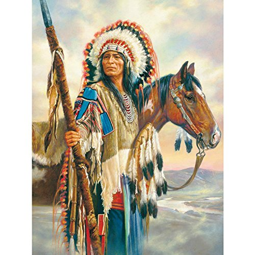 (24x34cm 5D DIY Diamond Painting Feather Cross Stitch Diamond Embroidery Kits Full Square Diamond Mosaic American Natives Indian Home Decor)