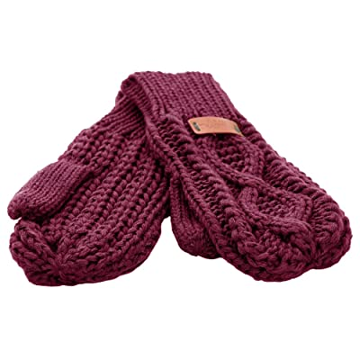 Aran Traditions Raspberry Red Diamond Cable Knit Mitts