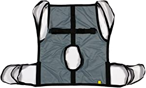 Patient Aid One Piece Commode Patient Lift Sling with Positioning Strap, Full Body 600lb Capacity (Small)