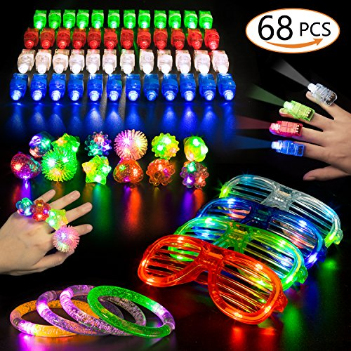 68 PCS LED Glow Party Favors,Ailuki Light Up Toys Glow in the Dark Party Supplies with 48 LED Finger Lights, 12 Flashing Bumpy Rings 4 Bracelets 4 Flashing Slotted Shades Glasses Christmas Accessories