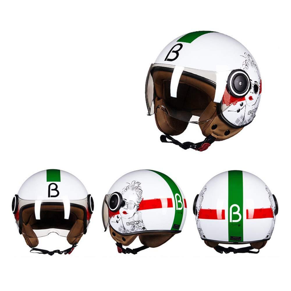 ヘルメット ,モトクロスヘルメット、オートバイのレトロな半分のヘルメット、四季の日焼け止めのヘルメット屋外運転安全ヘルメット ヘルメット男性と女性/手袋/ゴーグル/マスク  B07R8LLD7L