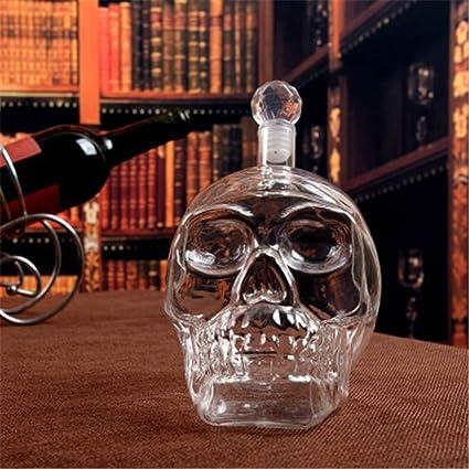 Halloween Cráneo De Vidrio Botella De Vino Conjunto De Dos Piezas, Vino Tinto Decantador 350Ml