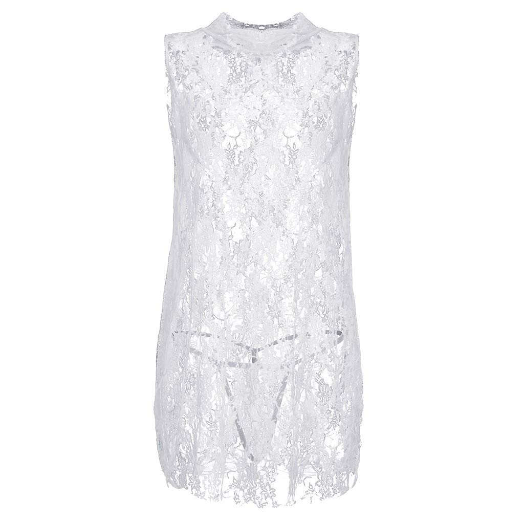 Sexy Lingerie for Women Sheer Lace Babydoll Hem Dress Sleeveless Mini Nightdress (White, M)