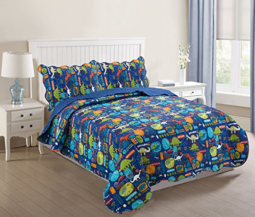 MarCielo 3 Piece Kids Bedspread Quilts Set Throw Blanket for Teens Boys Girls Bed Printed Bedding Coverlet, Full Size, Dinosaur (Full)