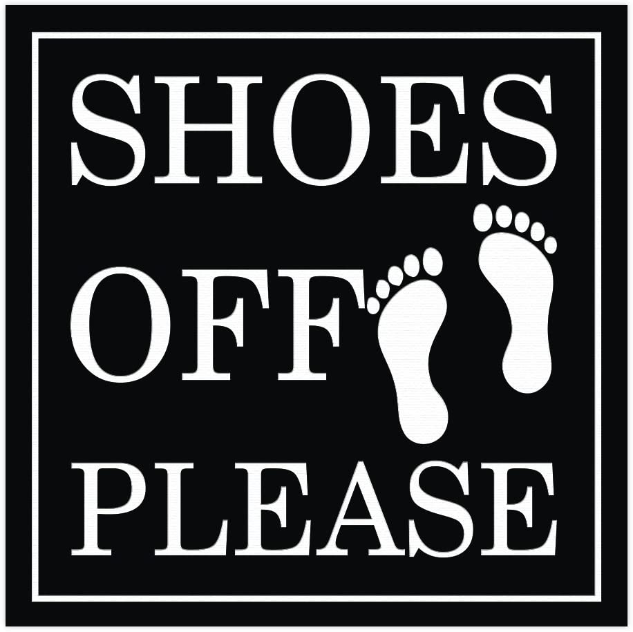All Quality Shoes Off Please Square Wall Door Sign - Black (Small)