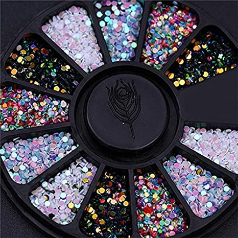... Nails - 1 Box 3D Nail Rhinestones Glitters Colorful Shining Rhinestones for Nails DIY Manicure Nail Decoration In Wheel - pattern20: Home Improvement