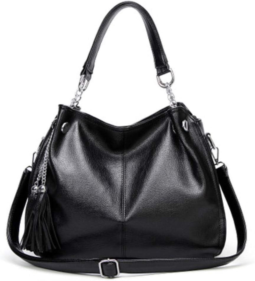 Color : Black, Size : Free Size Adjustable Handbag Womens Bag Shoulder Tassel Totes Crossbody Satchel Casual for Ladies Leathe