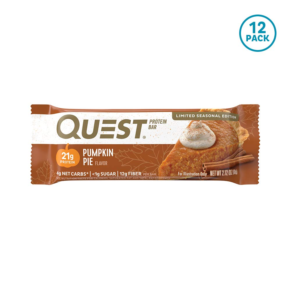 Quest Nutrition Pumpkin Pie Protein Bar, High Protein, Low Carb, Gluten Free, Keto Friendly, 12 Count by Quest Nutrition