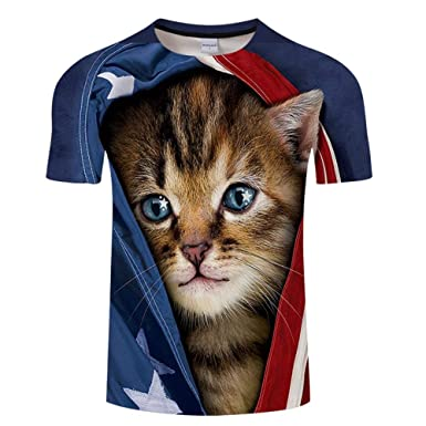 Camiseta Hombres Lindo Gato Algodón 3D Imprimen Camisetas Unisex ...