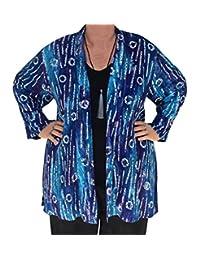 Kimono Cardigan PLUS SIZE, Blue Bohemian Jacket, 1x 2x Women's Plus Size Clothes