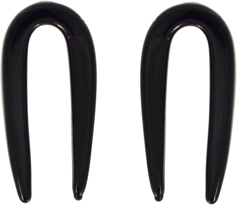 Black Acrylic Spiral Tapers Ear Plugs Expanders Gauges 8G 3MM Pair 2