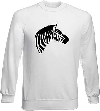 Sudadera por Hombre Blanco FUN4237 Wild Animals Zebra Head: Amazon.es: Ropa y accesorios