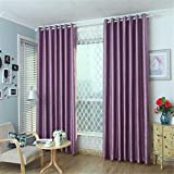 "meilianjia 3D Embossing Pearl Velvet Pure Color Insulation Blackout Thick Curtains 72"" W x 96"" L(One Panel),Light purple"