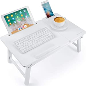 Lap Desk Nnewvante Bed Tray Table Foldable Laptop Desk Bamboo Breakfast Serving Tray w' Tilting Top Drawer Tablet Slots, White