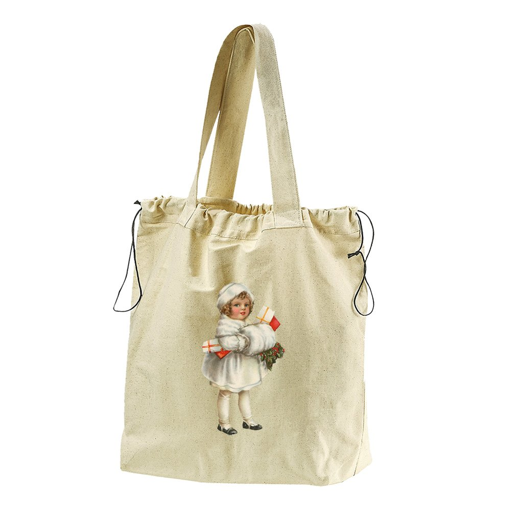 Girl In White Coat Vintage Look #1 Canvas Drawstring Beach Tote Bag