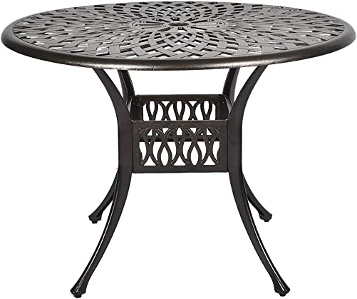 TITIMO 41.3 Diameter Outdoor Round Patio Bistro Dining Table Cast Aluminum Conversation Table