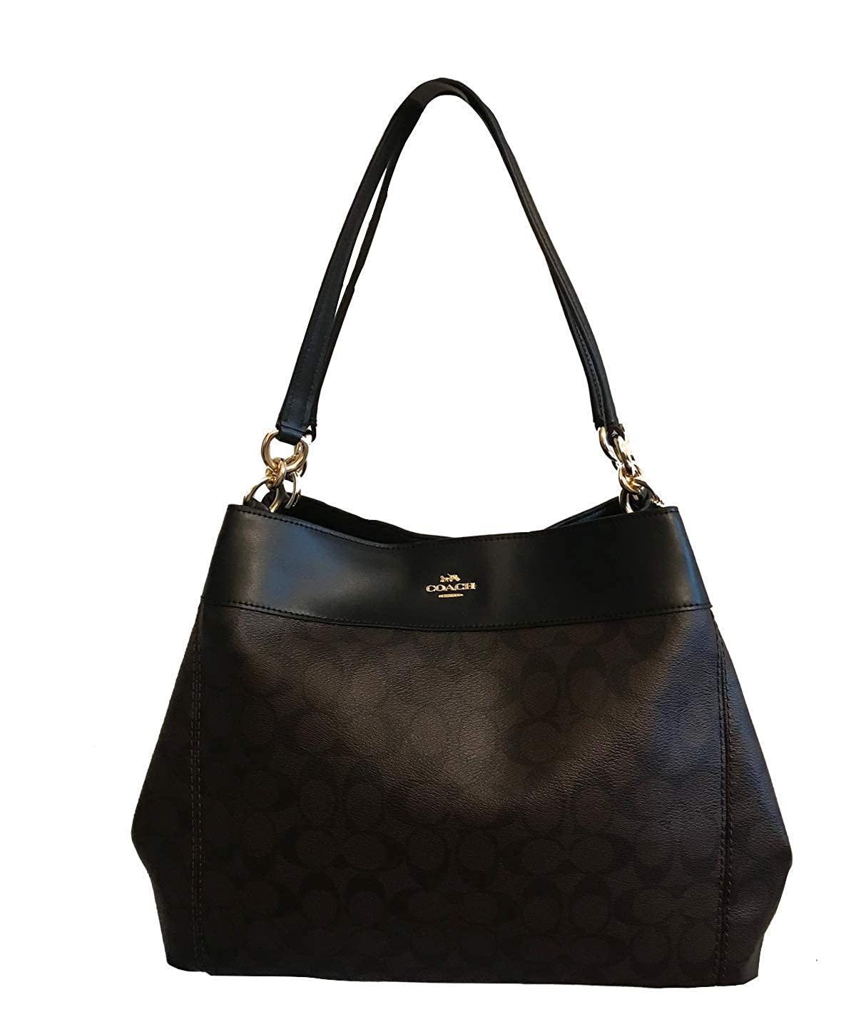 b8fcd151f3e3a Amazon.com  COACH Lexy Shoulder Bag in Signature (Brown Black)  Clothing