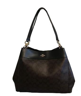 8ddf999d2 Amazon.com: COACH Lexy Shoulder Bag in Signature (Brown/Black): Clothing