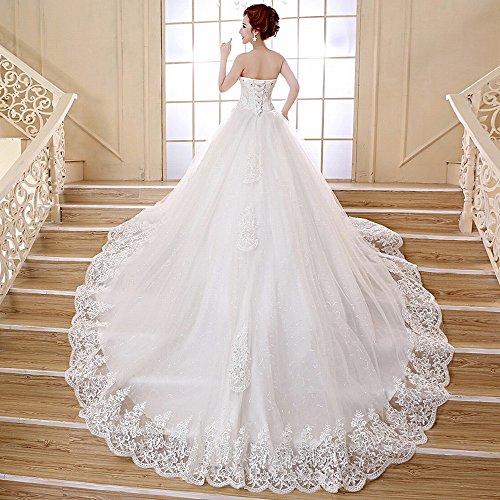 Knotenhochzeitskleid Qi homee XS Brautbandage Großes Schleppendes Weiß Brust Weißes n1Y6v6Oq