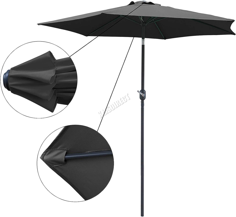 BIRCHTREE 2.5M Aluminium Garden Parasol Tilt Crank Mechanism Outdoor Patio Sun Shade Canopy Umbrella 6Rib BT-GP01 Beige