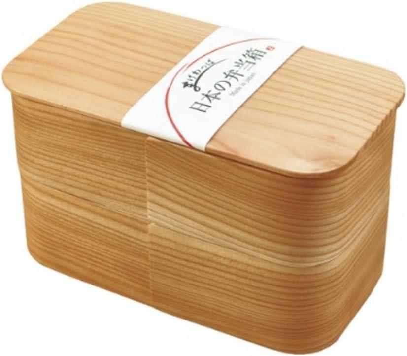 国産杉で国内製作の曲げわっぱ 弁当箱 (長角 二段:約16x8.5×H10cm(約930ml))