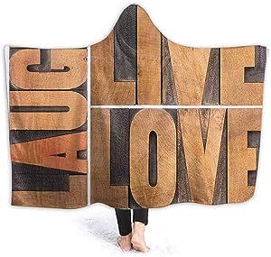 Live Laugh Love Decor Fleece Blanket Little Kids Size Macro Calligraphy Life Message Inspirational Digital Graphic for Adult, Women, Men 50 x 40 Inch Light Caramel Umber