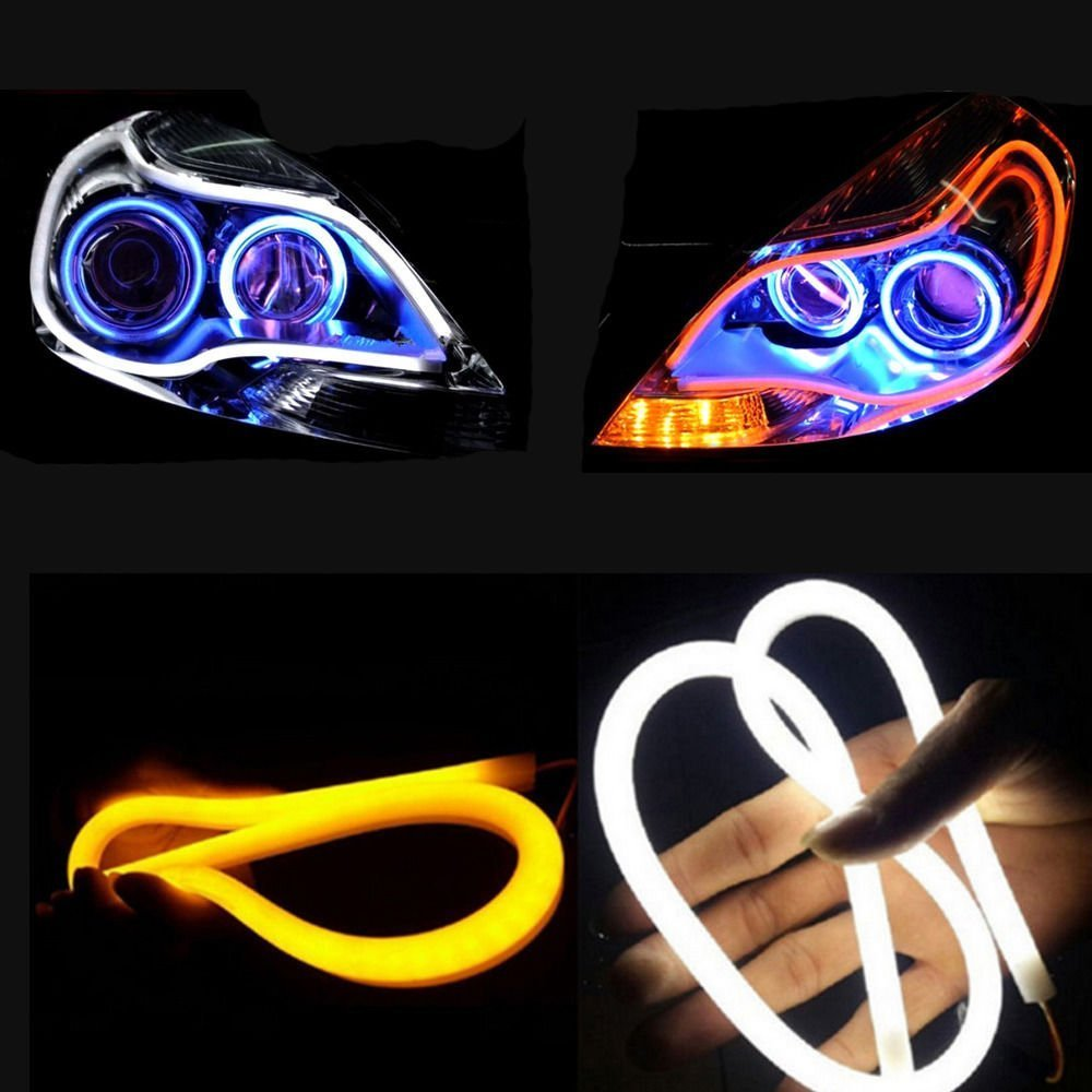 Ouguan New Arrival 2 Pack Dual Color White-Amber Switchback Headlight LED Tube Strip Light DRL Daytime Running Light & Turn Signal Lamp For Audi-Style Headlight (30CM 11.81in) Ouguan Ink ®