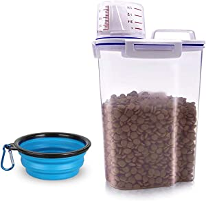 TIOVERY Pet Food Storage Container, Small Dog Food Container Airtight Plastic Dispenser with Graduated Measuring Cup, Pourable Spout and Portable Collapsible Dog Bowl for Cats Birds Seed