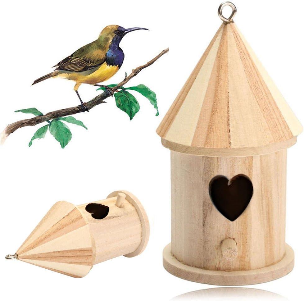 FiedFikt - Caja Nido de Madera para pájaros, pájaros, pájaros, Nido de pájaros, jardín, decoración de pájaros, Refugio y hábitat: Amazon.es: Hogar