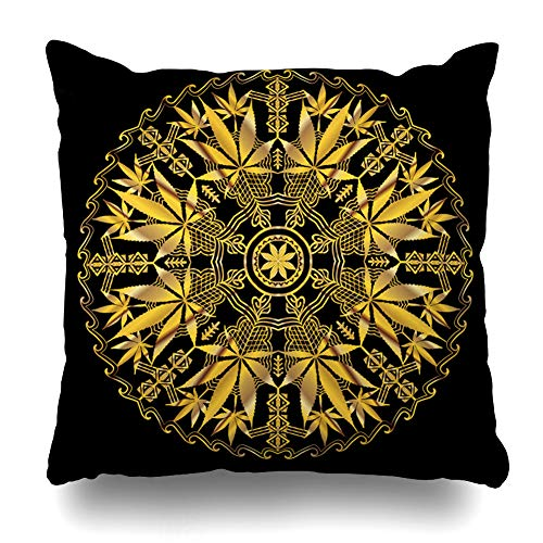 Ahawoso Throw Pillow Cover Intricate Green Circular Funky Cannabis Hand Stoned Black Drawing Filigree Ganga Gold Golden Design Cushion Case Home Decor Design Square Size 18 x 18 Inches ()