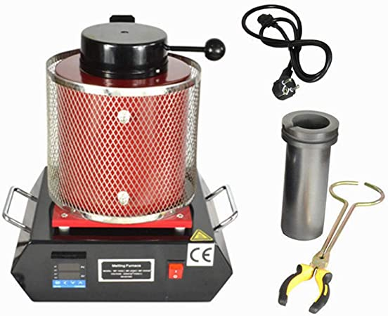 1400w AC110V Melting Furnace Crucible Tongs Gold Silver Copper Melting Kit Smelter Kiln Kit Casting Refining Jewelry Precious Metals Gold Silver Copper Aluminum 3KG Gold Melting Furnace