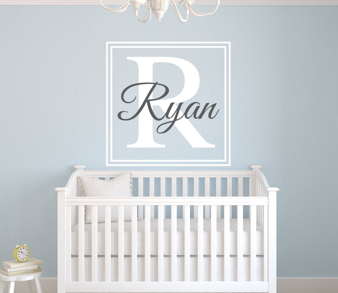Custom Square Boy Name Wall Decal - Boys Kids Room Decor - Nursery Wall Decals - Monogram Wall Decal Stickers