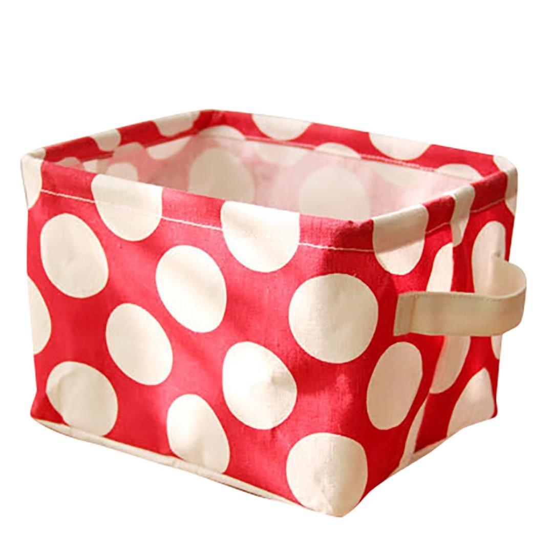 Cute Small Storage Basket with Handle, Cotton Fabric Storage Organizer Box for Nursery Kids Babies Room Shelves & Desks Thick Storage Basket Sundries Storage Box (Brown) Shuwe