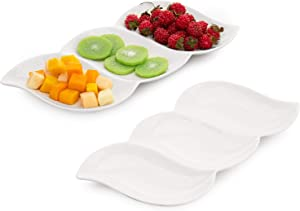 MyGift 3-Compartment Wave Design White Ceramic Appetizer Serving Platter Tray, Set of 2
