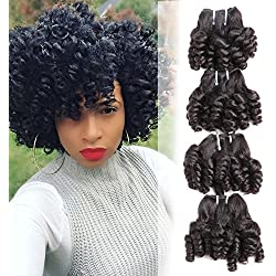 Funmi Curly Hair 4 Bundles Natural Black Unprocessed Human Remy Hair Short Bouncy Curls Weave Brazilian Virgin Hair Extensions 200Gram/lot (10 10 10 10, New Funmi)