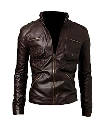 bb7817a77 Men biker slim fit Coffee Brown Tiger Faux leather jacket-Available in all  sizes (M, COFFEE BROWN)