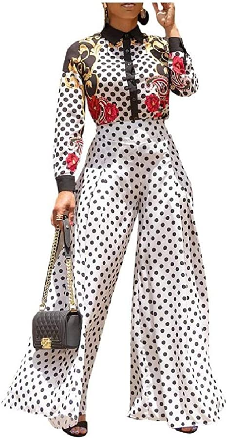 EnergyWD Women's Classy Culottes Fashional High Waist Wide Leg Polka Dot Print Pants